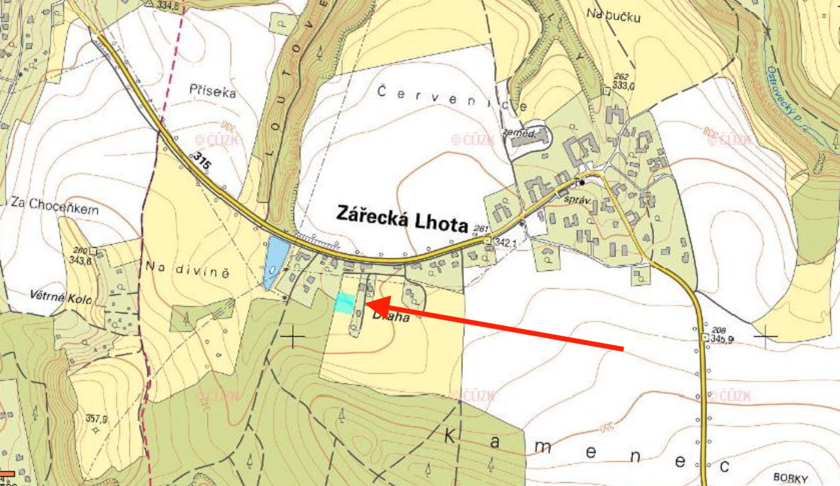 Prodej stavebního pozemku Zářecká Lhota